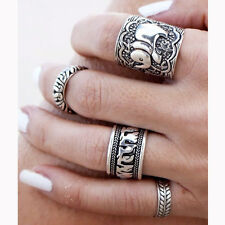 Ethnic Boho Elephant Leaf Totem Quest Vintage Engraving Knuckle Mid Finger Ring