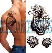 HOWLING TIGER ARM LEG SHOULDER BODY TATTOO TEMPORARY WATERPROOF STICKER MEN MAN
