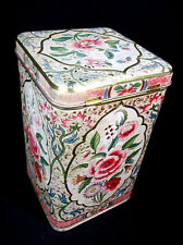 Vintage Beautiful Embossed Floral Hinged Tin Made in HOLLAND
