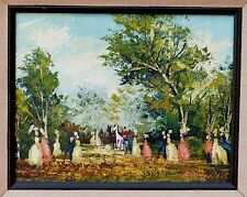 Vintage European oil painting signed R Amateis Victorian People Landscape Horses