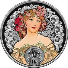 Niue 2011 A.Mucha Zodiac Virgo 28.28g 925 Silver Coin w/Box and COA