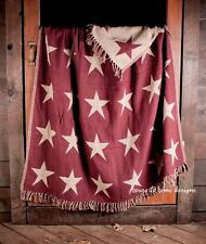 PRIMITIVE BURGUNDY STAR WOVEN THROW : 100% COTTON COUNTRY RED CREAM BLANKET