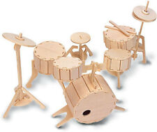 Drum Set Construction Kit - Wood Craft - Self Assembly Puzzle - Decorate Make