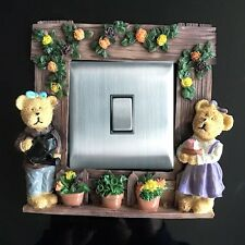 Bear Home Resin Single Light Switch Surround Socket Finger Plate Panel Cover, 09