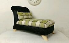Small Chaise Longue & Cushion in Crushed Velvet + Tartan (free deliv, main UK)