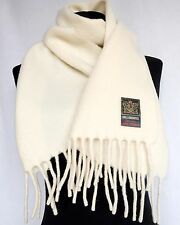 "Women 100% Pure Wool Lambswool Ladies Scarf Fringe Exclusive White 58"" 148cm NEW"