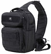 "Black Compact Tacti-Sling Shoulder Bag - Durable 12"" MOLLE 1 Sling Tactical Pack"