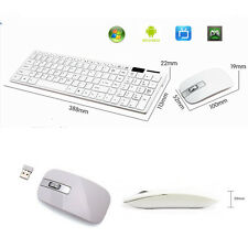 White 2.4G Optical Desktop Wireless Keyboard and Mouse USB Receiver Kit For PC