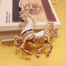 Fashion Gold Plated Crystal Horse Pendant Necklace sweater chain HH89