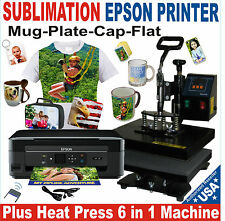 6 IN 1 HEAT PRESS SUBLIMATION COMBO COMPLETE PACK PLUS SUBLIMATION PRINTER EPSON