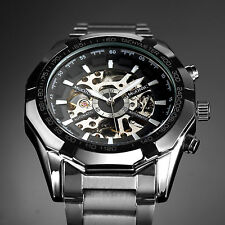 New Silver Stainless Steel Skeleton Black Mens Automatic Mechanical Wrist Watch