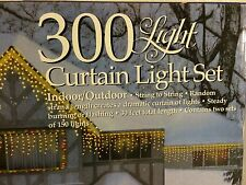 300 Light Curtain Light Set Holiday Time Clear Lights White Wire