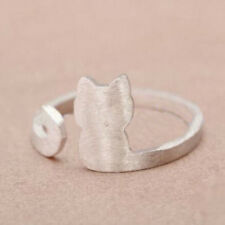 Fashion Silver Plated Cute Little Matte Cat Lady Open Ring Cocktail