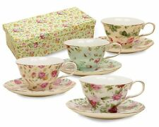 Gracie China Rose Chintz 8-Ounce Porcelain Tea Cup and Saucer 33708  Gift Box