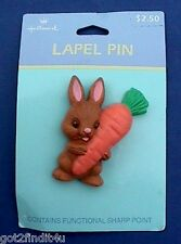 Buy3/Get1FREE~MOC Hallmark PIN Easter Brown BUNNY Rabbit w Large CARROT Vintage