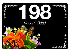 House,door name/number/road Floral Design Plaque/sign/plate 7x5inch Aluminium