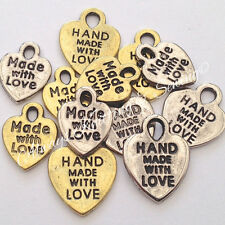 12 x mixed metal charms 3 of each design made with love made for you gold/silver