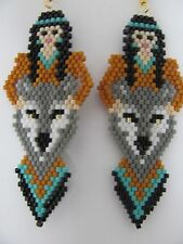 Beaded Indian Maiden and Grey Wolf  dangling earrings