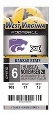 2014 WEST VIRGINIA VS KANSAS STATE WILDCATS TICKET STUB 11/20 COLLEGE FOOTBALL