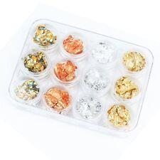 12 Box Gold Silver Copper Rainbow Paillette Chip Nail Art Design Decoration AD
