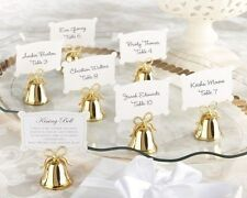 144 NEW Gold Kissing Bells Place Card / Photo Holder Shower / Wedding Favors