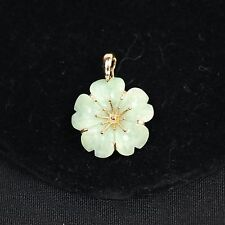 14K Yellow Gold & Light Green Celadon Jade Carved Full Figural Flower Pendant