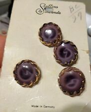VINTAGE LOT OF 4 BUTTONS GLASS & Metal GERMANY Swirl Design In Purple Glass