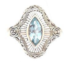 Blu Topaz Anello Semi Perle Art Deco Argento 925 antico Style Sterling Argento Taglia 54
