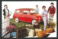 Fiat 500 Familiare - Riproduzione moderna su cartolina di pubblicità d'epoca