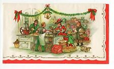 Vintage Christmas Greeting Card Victorian Family Shopping At Store