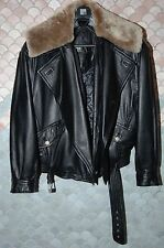 Verri leather bomber jacket with removable fur collar and half-vest, new, US 44
