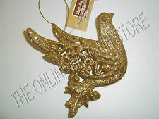 Christmas Tree Wreath Decorative Glitter Sparkle Ornaments Gold Dove Bird