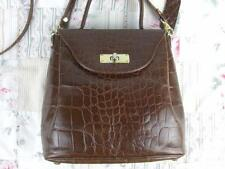 Marks & Spencer GENUINE LEATHER MOC CROC MESSENGER X BODY BAG