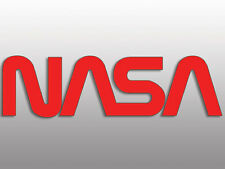 2x8 inch RED NASA Worm Lettering Sticker -us space astronomy science logo decal