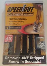 Speed Out Titanium 4 piece set Damaged Screw Extractor; Use With Any Drill