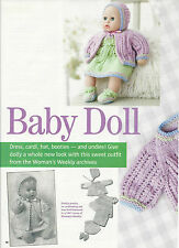 "LAMINATED DOLLS CLOTHES SET KNITTING PATTERN FIT 46CM/14"" DOLLS"