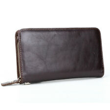 Mens Clutch Long Zip-Around Wallet Purse Checkbook Vintage Leather Handbag Bag