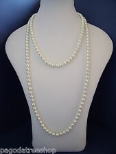 New Gorgeous 1920s Style Long Knotted Faux Pearl Necklace Boxed