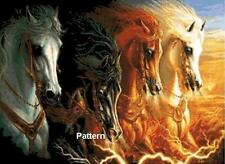 4 Horses of the Apocalypse. Cross Stitch Pattern. Paper version or PDF files.