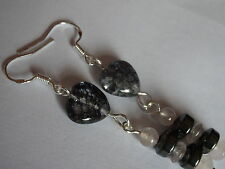 GENUINE CRACKLED  BLACK QUARTZITE AND BLACK AGATE HEARTS TERLING SILVER EARRINGS