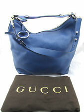 $1550 GUCCI Miss GG Blue Pebbled Leather XL Large Hobo Shoulder Bag Italy New
