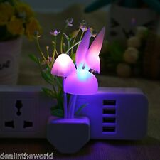 Mushroom Rabbit Shape Colorful LED Sensor Night Light Green Plant Wall Lamp CHIN