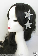 2x Gold or Silver Starfish Hair Clips Mermaid Boho Bridal Slides Beach Shell M01