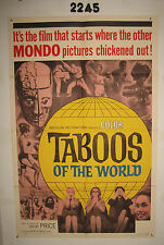 Taboos of the World Original 1sh Movie Poster 1965 I Tabu, AIP, Vincent Price,