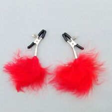 Red feather nipple clamps shaking stimulate clip overcast female breast sex