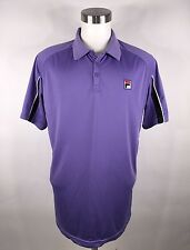Fila Dry Tech Polo Tennis Shirt Purple Black Men's Size XL Short Sleeve