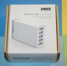BRAND NEW Anker 40W/8A 5-Port USB Charger Multi-Port USB Charger PowerIQ white