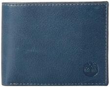 NEW TIMBERLAND MEN'S PREMIUM GENUINE LEATHER PASSCASE WALLET BLUE INK D84218/23