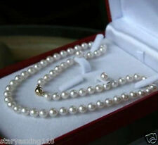 8mm AAA White South Sea Shell Pearl Necklace Earring Set 18""