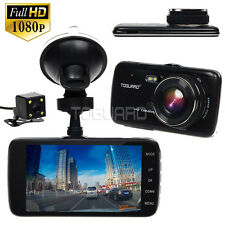 4'' IPS Big Screen Dash Cam HD 1080P Dual Lens Car DVR Video Camera LDWS FCWS